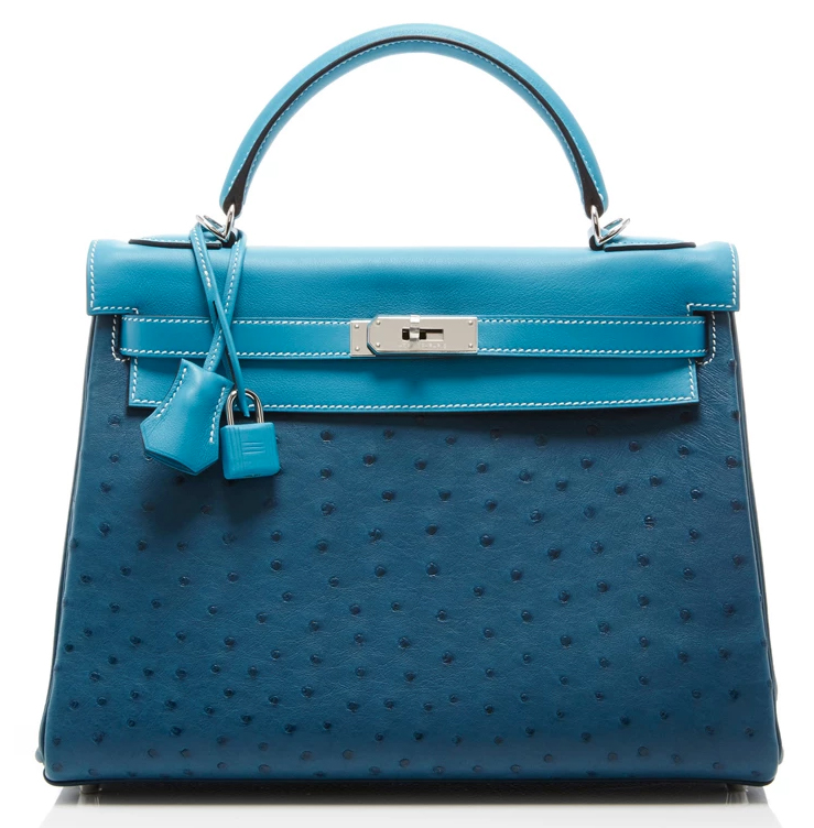 Hermes-Leather-and-Ostrich-Kelly-Bag