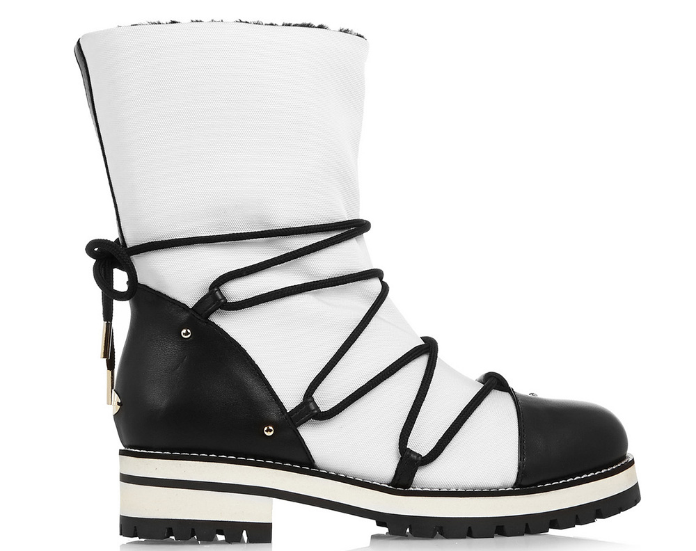 Jimmy Choo Shearling-Lined Leather and Pique-Shell Boots