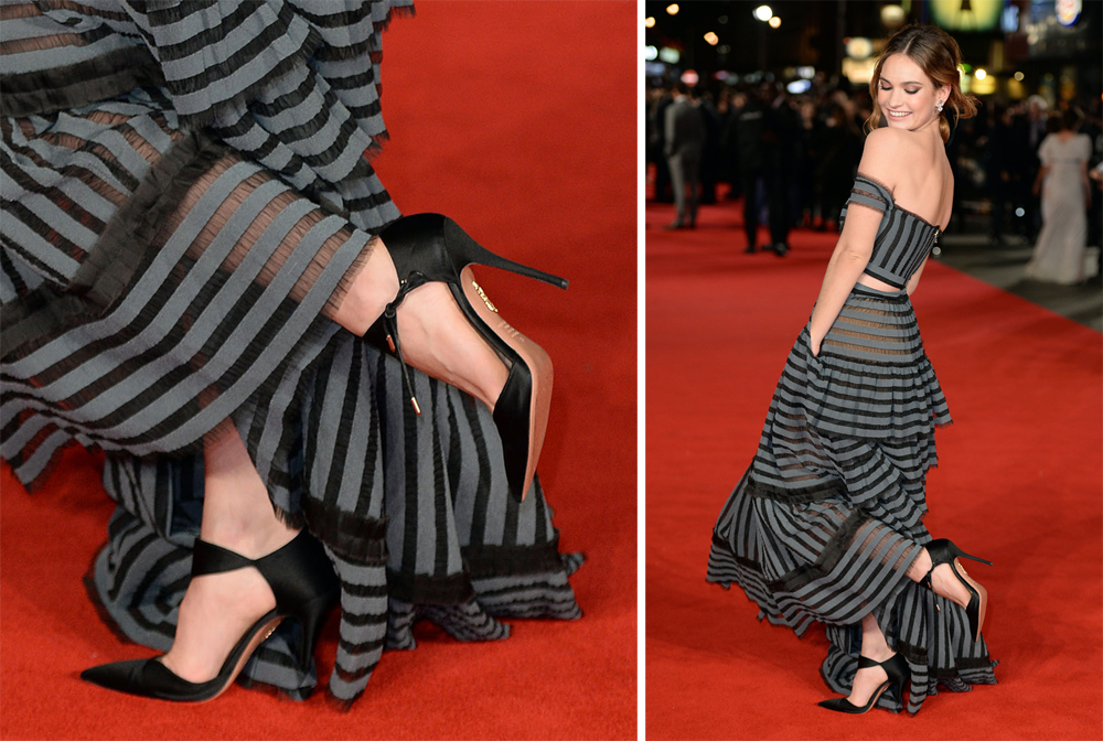 Lily-James-Aquazzura-Candela-Pumps
