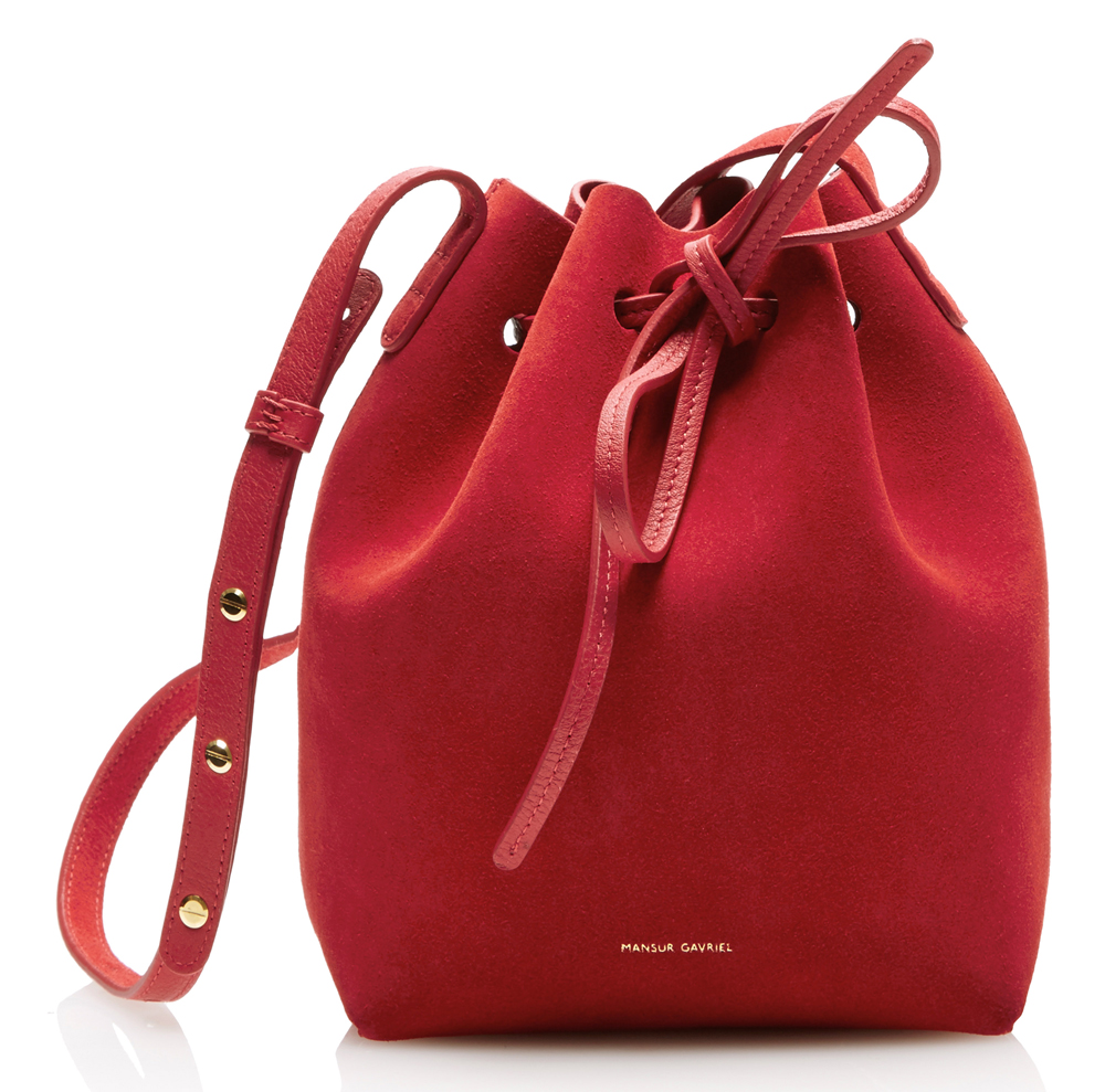 Mansur-Gavriel-Suede-Mini-Bucket-Bag-Red - PurseBlog