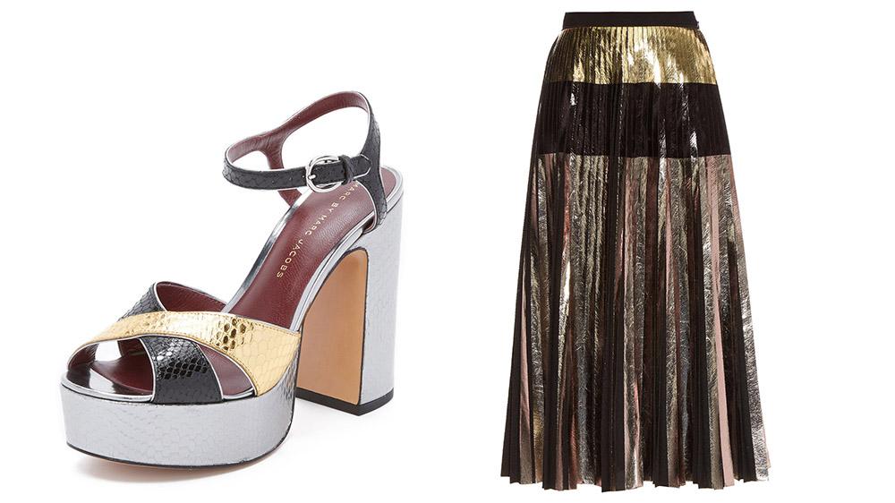 Marc by Marc Jacobs Jerry Platform Sandals [$478 via ShopBop]  Proenza Schouler Metallic Pleated Skirt [$1,760 via MATCHESFASHION.COM]