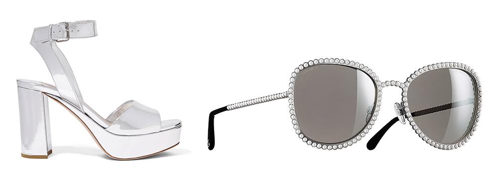 Miu Miu Mirrored-Leather Platform Sandals [$690 via Net-a-Porter]  Chanel Oval Runway Sunglasses [$600 via Chanel]