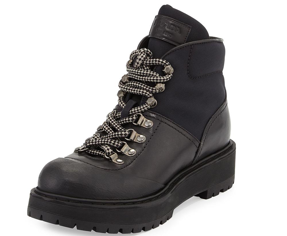 Prada Low Leather Hiking Boot