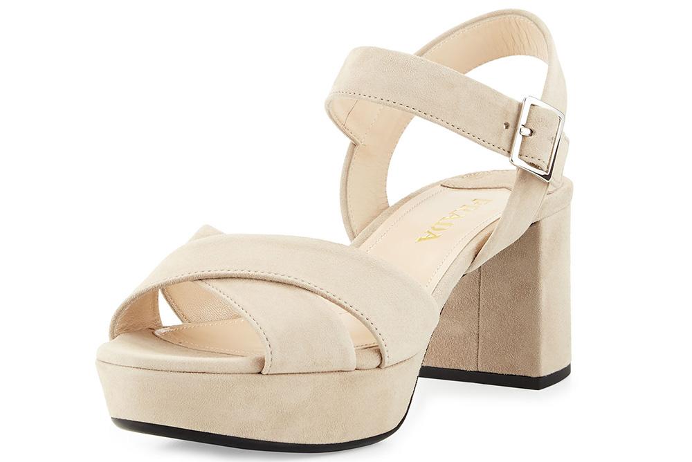 Prada Suede Crisscross Platform Sandal