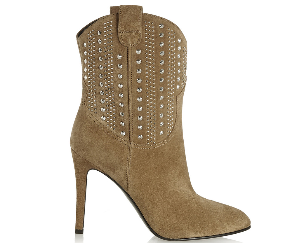 Saint Laurent Debbie Studded Suede Ankle Boots