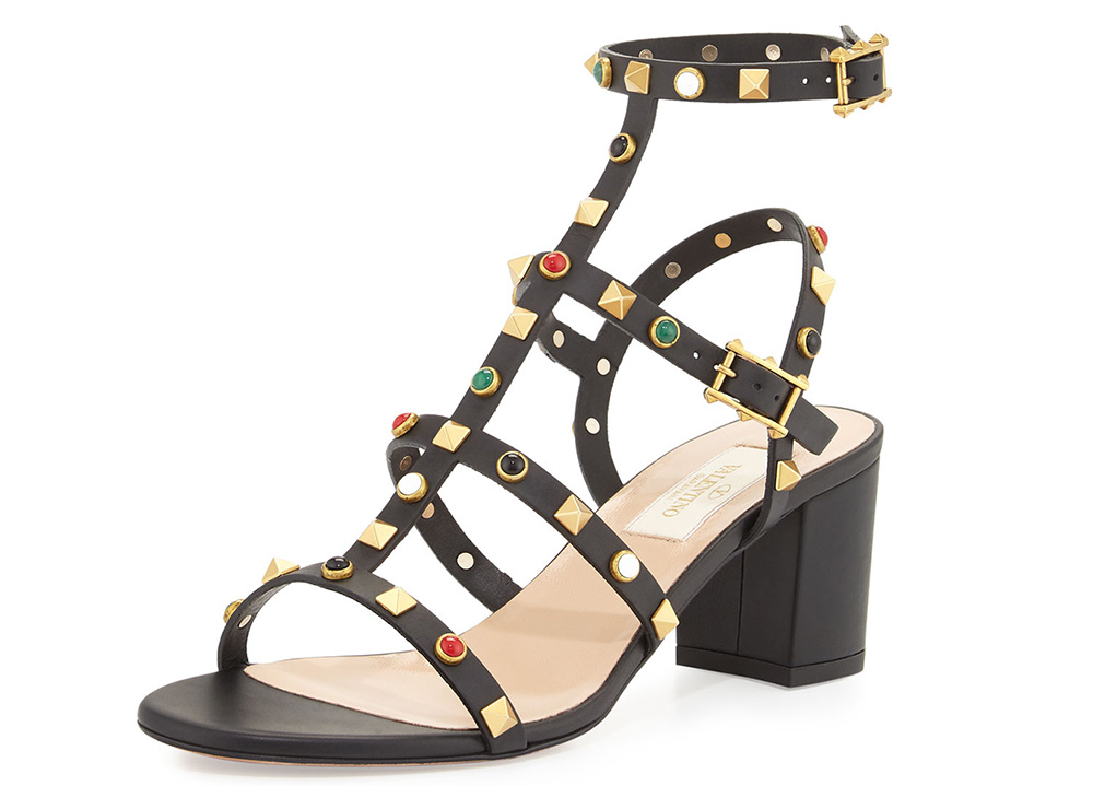 Valentino Rockstud Cabochon Gladiator Sandal
