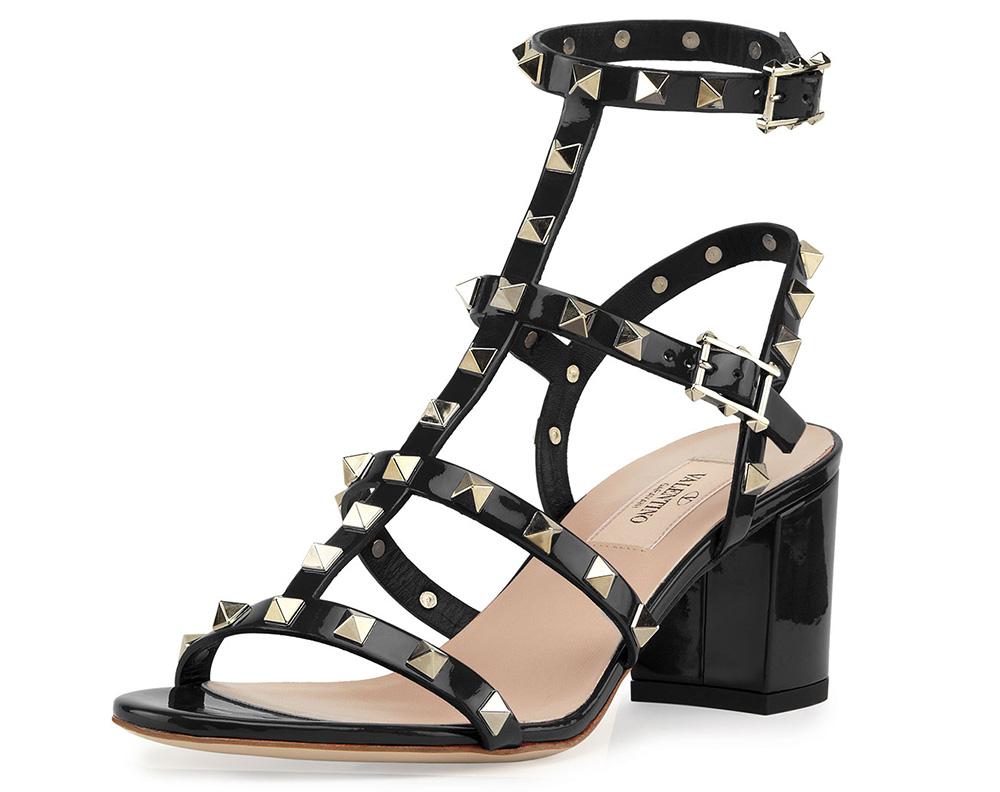 Valentino Rockstud Chunky-Heel Sandal