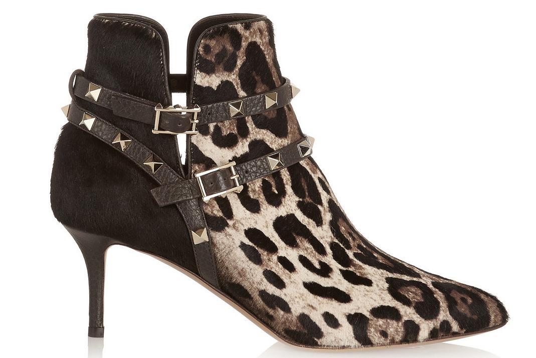 Valentino Rockstud Leopard-Print Calf Hair Ankle Boots