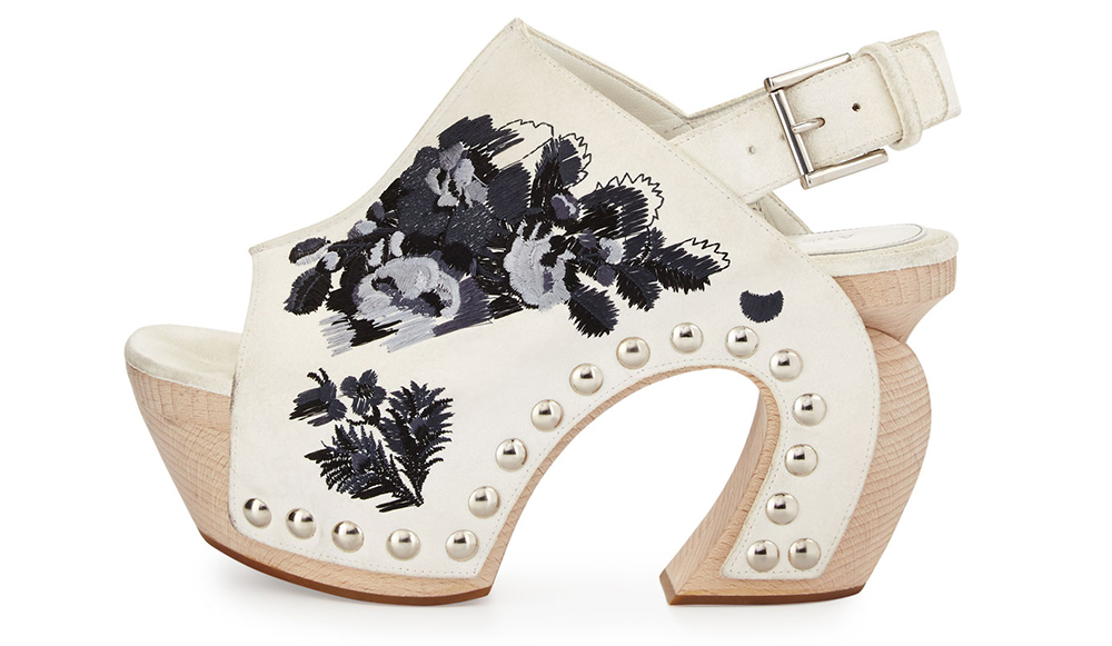 Alexander McQueen Embroidered Leather Platform Clog Sandal