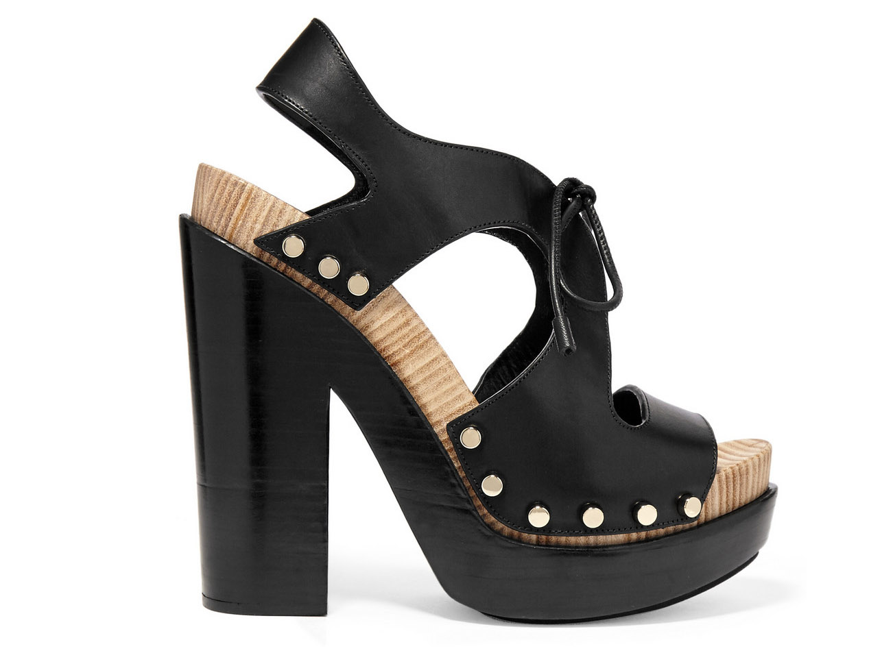 Balenciaga Curve Cutout Leather Platform Sandals