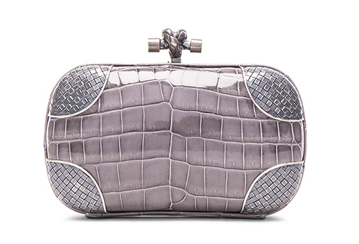Bottega-Veneta-Fume-Crocodile-Knot-Clutch