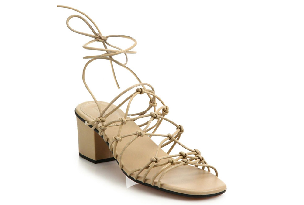 Chloe Knotted Leather Ankle-Wrap Sandals copy