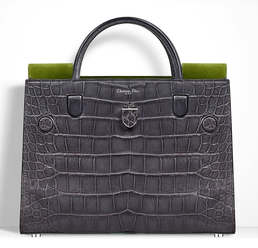 Christian-Dior-Diorever-Bag-Grey-Alligator