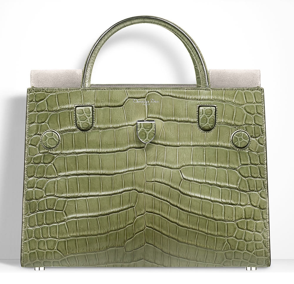 Christian-Dior-Diorever-Crocodile-Bag-Olive-Green