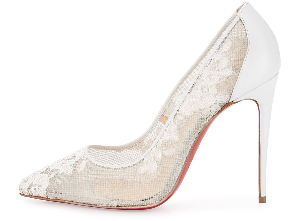 christian louboutin lace satin pumps