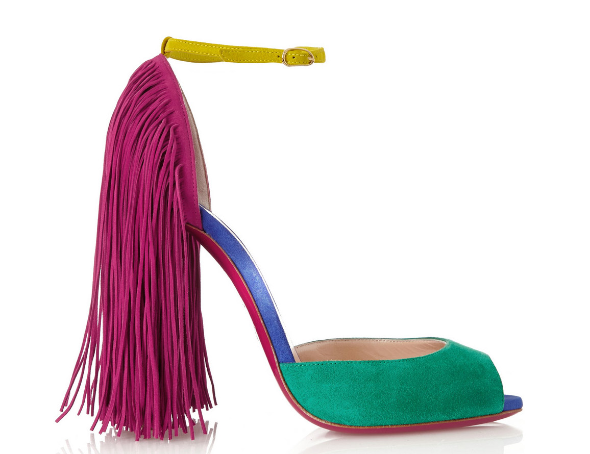 Christian Louboutin Otrot Fringed Color-Block Suede Sandals