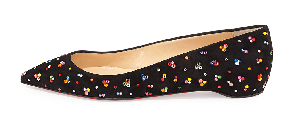 Christian Louboutin Pigalle Follies Crystal Red Sole Flat