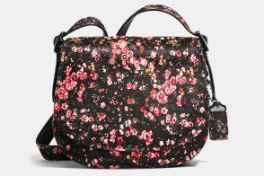 Coach Saddle 23 Bag floral printed haircalf