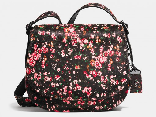Coach Saddle 23 Bag floral printed haircalf