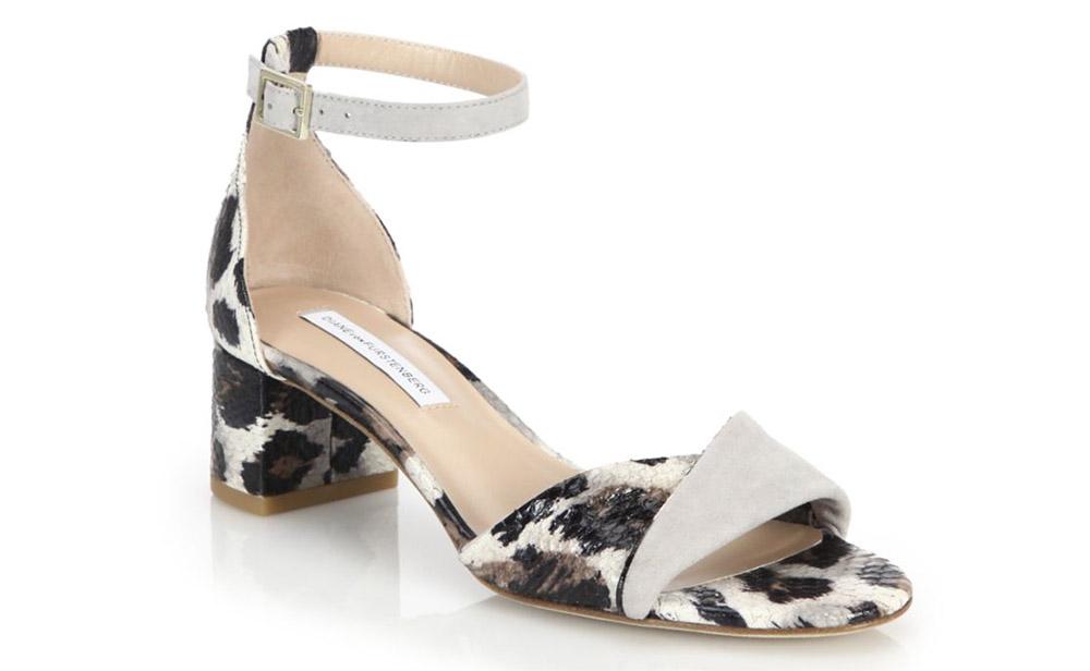 Diane von Furstenberg Florence City Snakeskin & Suede Sandals