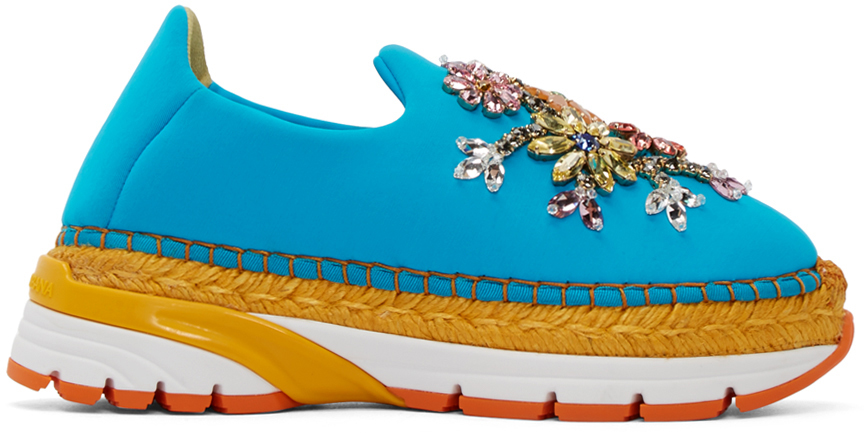 Dolce and Gabbana  Blue Neoprene Embellished Sneakers