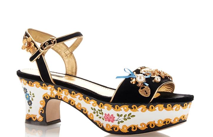 Dolce and Gabbana Velvet Embellished Painted Platforms