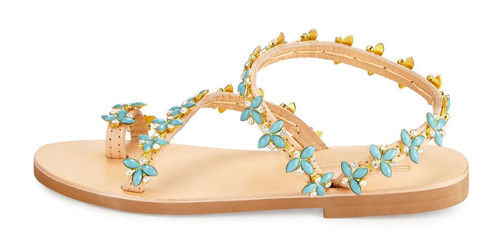 Elina Linardaki Natalie Beaded Jewel Flat Sandal
