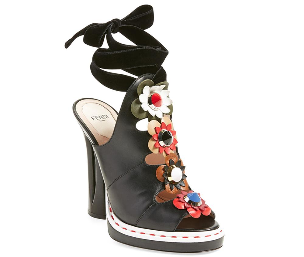 Fendi Velvet-Trimmed Appliqued Leather Sandals