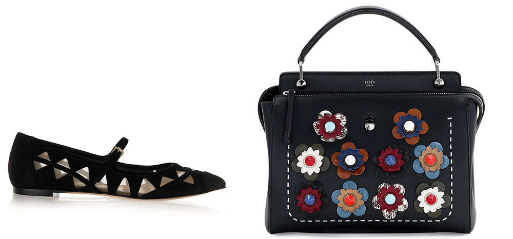 Gianvito Rossi Mesh-Paneled Suede Point-Toe Flats  $975 via Net-a-Porter  Fendi DOTCOM Medium Floral Leather Satchel Bag  $3,300 via Bergdorf Goodman