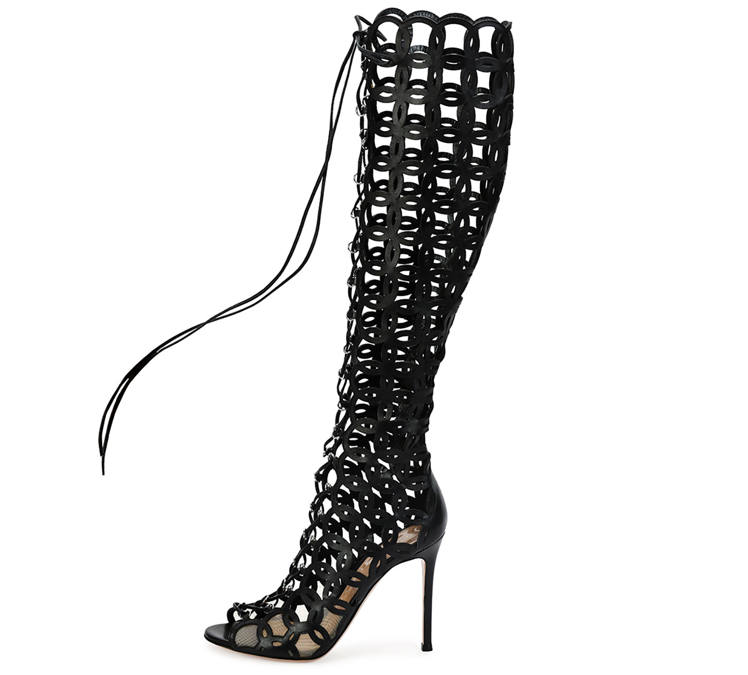 Gianvito Rossi  Laser-Cut Open-Toe Leather Knee Boot