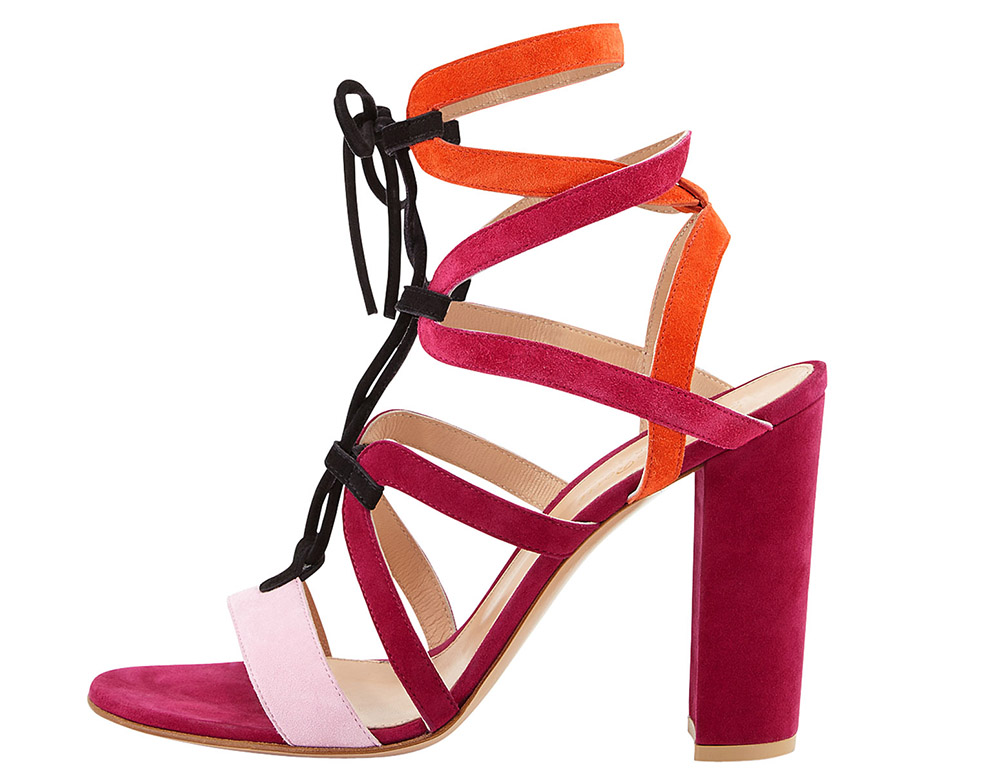 Gianvito Rossi for Mary Katrantzou Colorblock Lace-Up Block-Heel Sandal