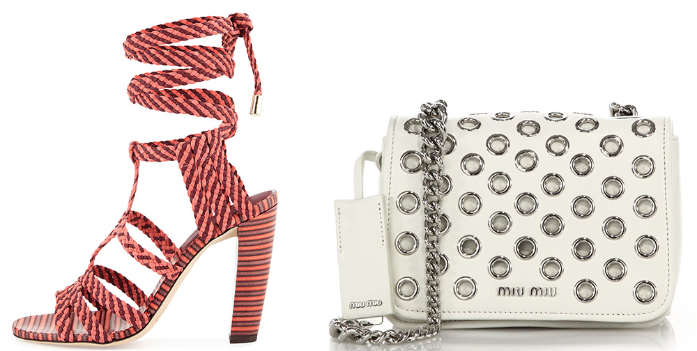 Jimmy Choo Trix Woven Ankle-Wrap Sandal $975 via Neiman Marcus  Miu Miu Club Grommeted Leather Crossbody Bag $1,655 via Saks