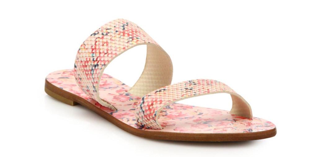 Joie Sable Floral-Print Leather Slide Sandals