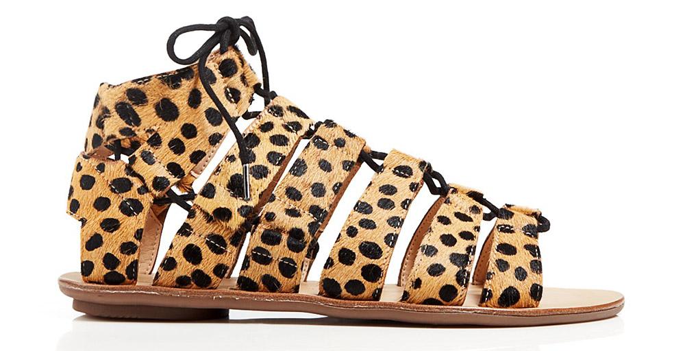 Loeffler Randall Open Toe Flat Ghillie Lace Up Sandals
