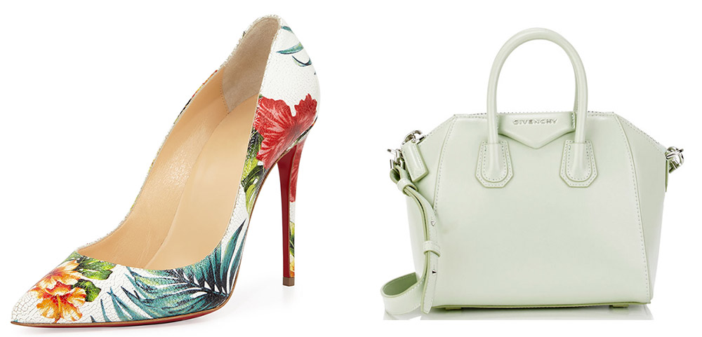 Christian Louboutin Pigalle Follies Floral Pump $715 via Neiman Marcus Givenchy Antigona Mini-Duffel Bag  $1,750 via Barneys