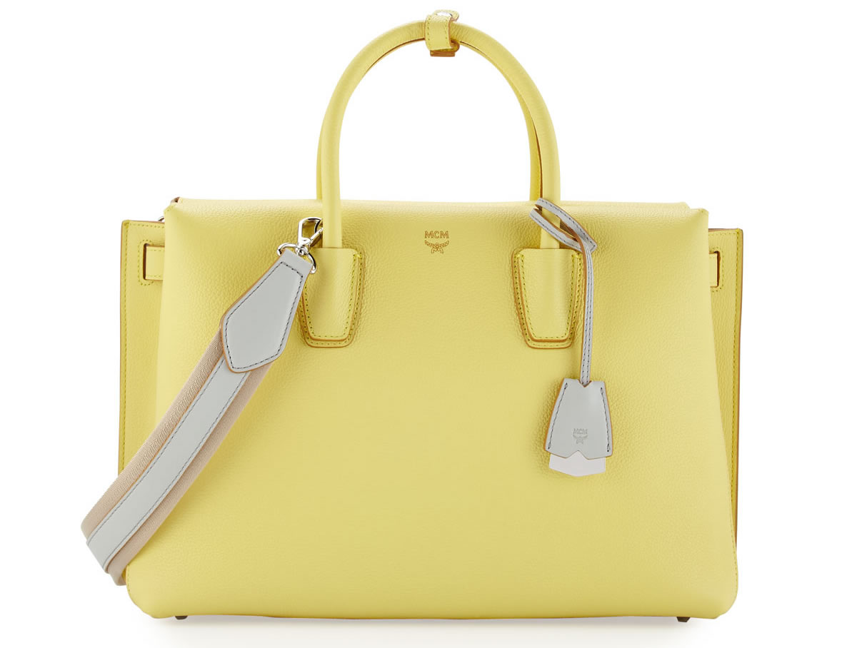 MCM Milla Tote in Mustard Yellow