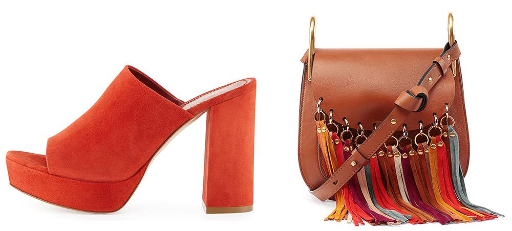 Mansur Gavriel Suede Platform Mule Sandal  $625 via Bergdorf Goodman  Chloé Hudson Fringe-Trim Leather Shoulder Bag $2,390 via Neiman Marcus