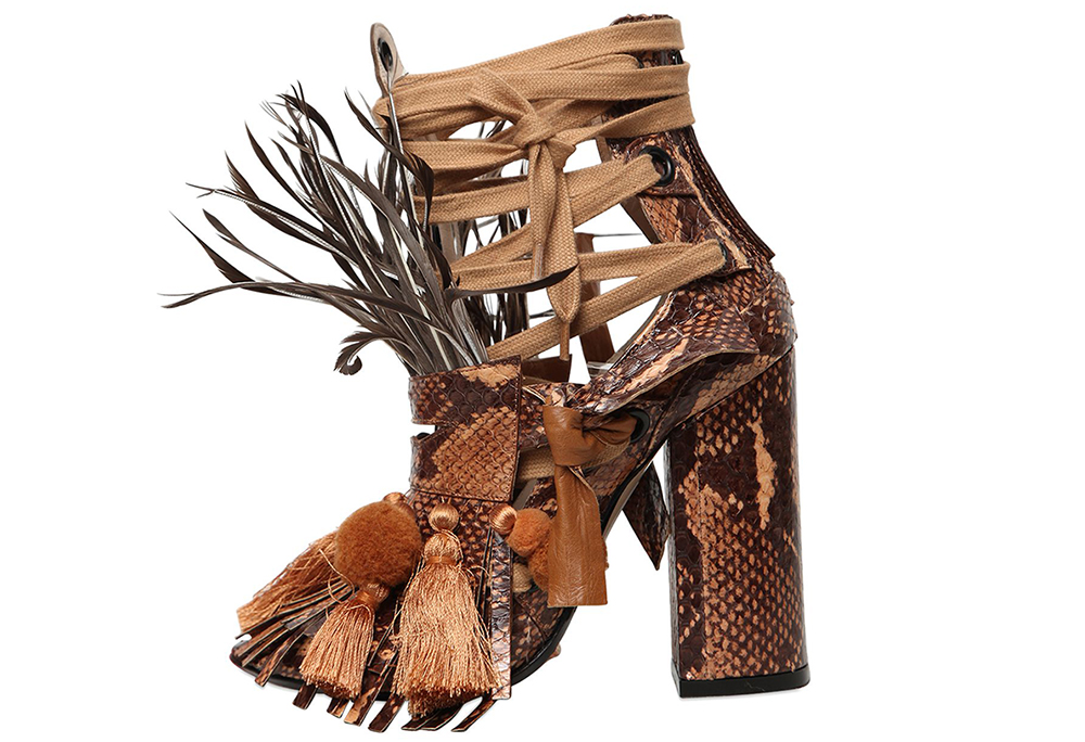 N°21 Feathers Elaphe Snakeskin Sandals