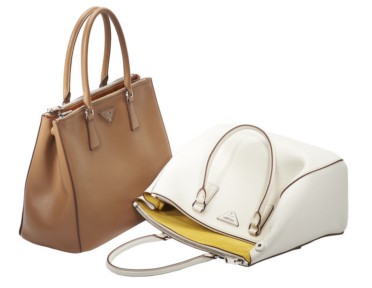 Prada Galleria Bags Tan and White