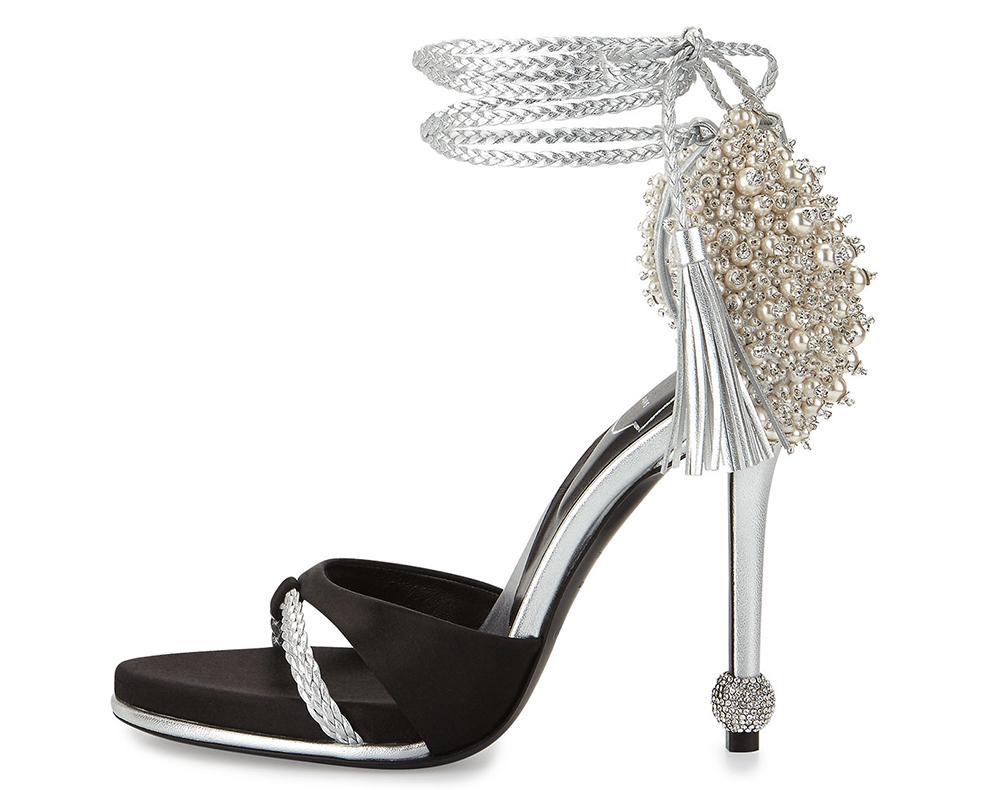 Roger Vivier Lasso Pearly Ankle-Wrap Sandal