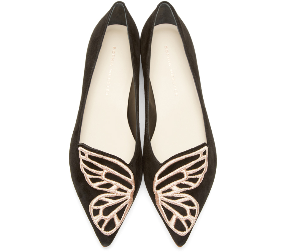 Sophia Webster Bibi Butterfly Embroidered Suede Point-Toe Flats