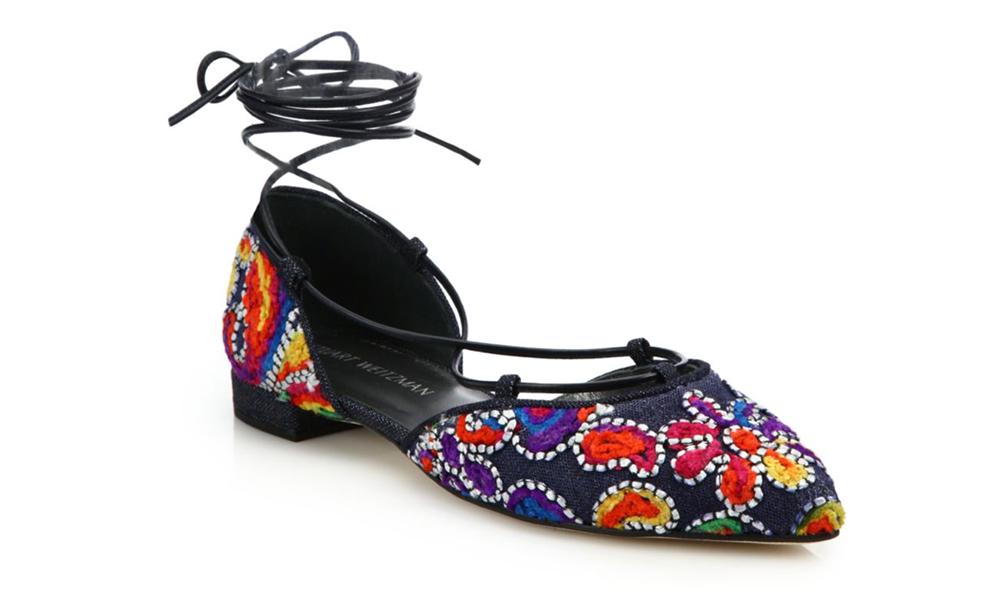 Stuart Weitzman Gilligan Embroidered Denim Lace-Up Flats