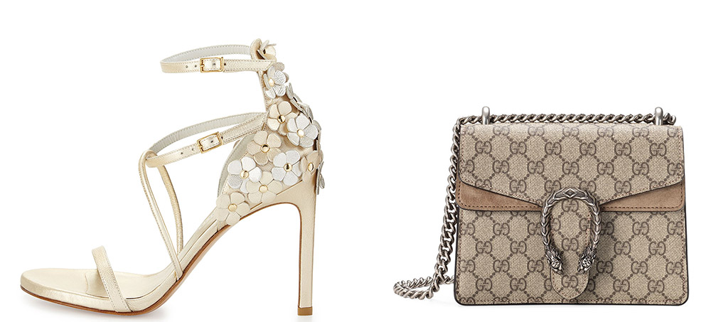Stuart Weitzman Wildthing Floral Leather Leather Sandal $498 via Bergdorf Goodman  Gucci Mini Dionysus GG Supreme Shoulder Bag $1,550 via Neiman Marcus