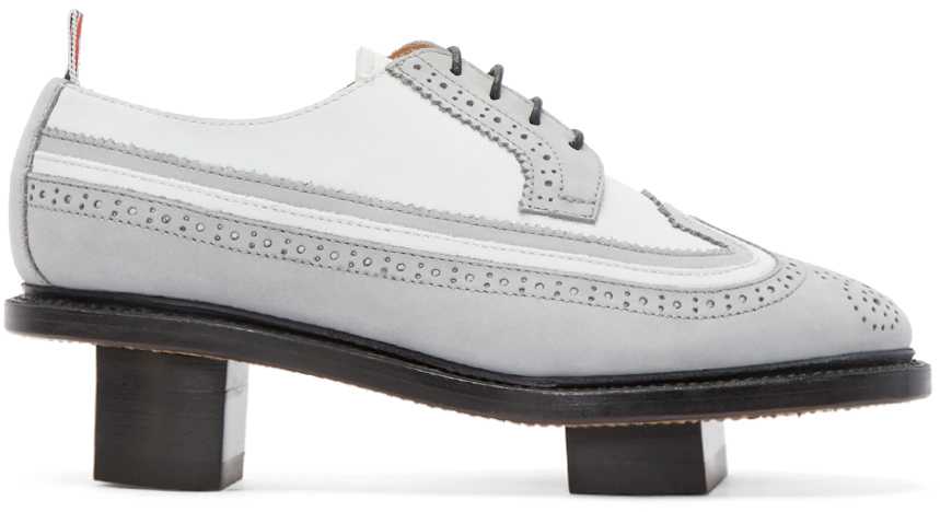 Thom Browne  Grey & White Suede Geisha Brogues