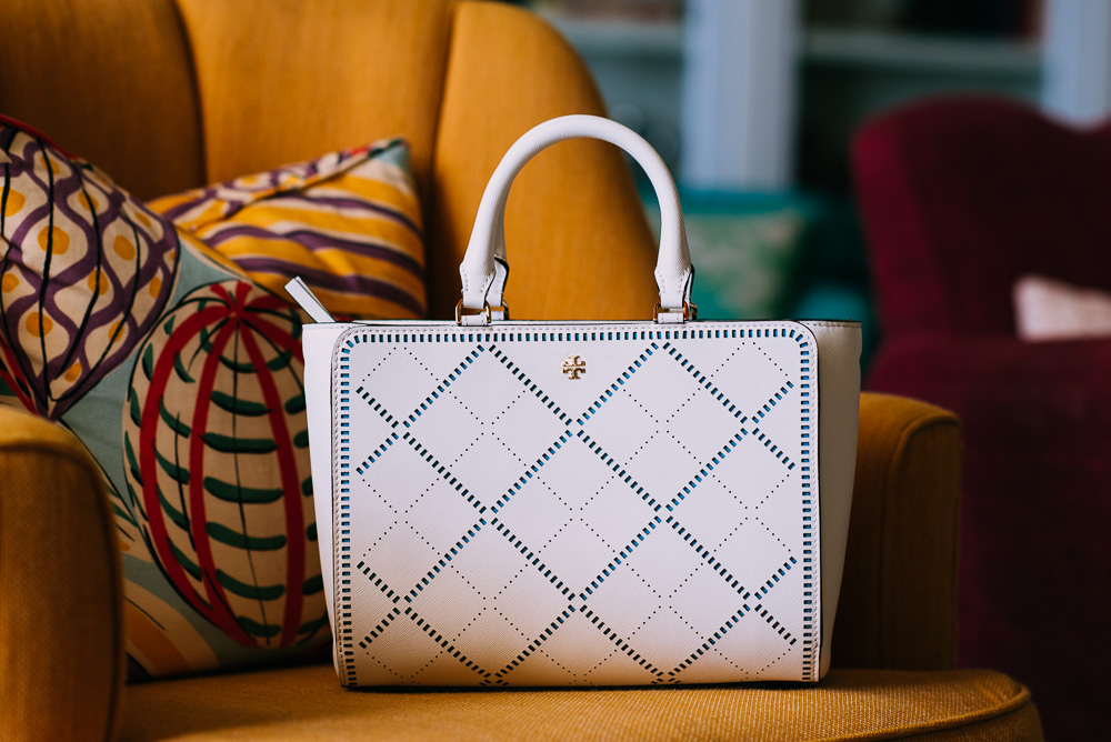 Tory Burch Robinson Crosshatch Small Zip Tote, $550