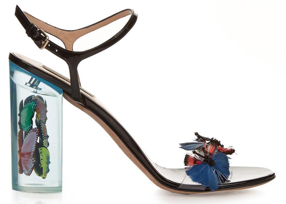 Valentino Camu Butterfly Embellished Plexiglass Sandals