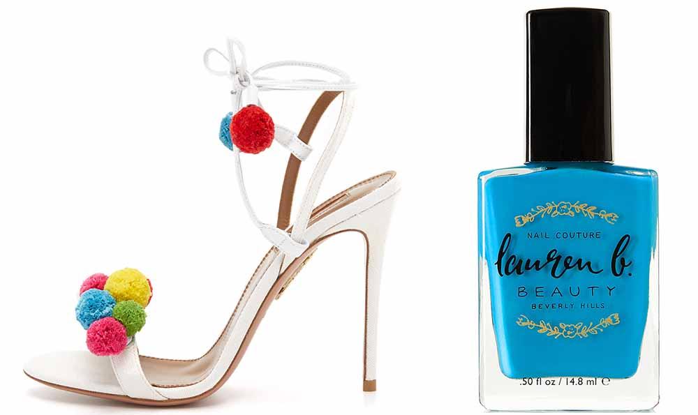 Aquazzura Pon Pon Sandals $825 via ShopBop  Lauren B. Beauty Catalina Cruise Nail Polish $18 via Net-a-Porter