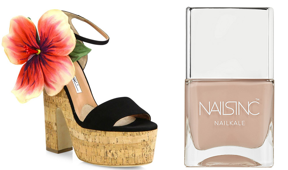 Brian Atwood Flower Kate Suede & Cork Platform Sandals $1,095 via Saks  Nails Inc. Montpelier Walk NailKale Polish $15 via Net-a-Porter