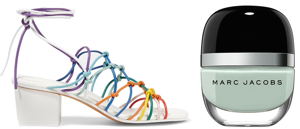 Chloé Knotted Leather Sandals $795 via Net-a-Porter  Marc Jacobs Beauty Good Friday 	  Enamored Hi-Shine Nail Lacquer $18 via Bergdrof Goodman
