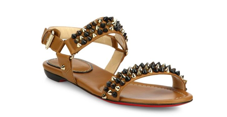 Christian Louboutin Bikee Bike Spiked Leather Flat Sandals